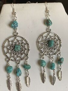 35% Off-LG. HANDCRAFTED NATURAL TURQUOISE & SILVER DREAM-CATCHER EARRINGS-NEW
