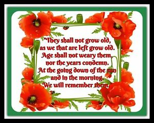 THEY SHALL NOT GROW OLD POEM REMEMBRANCE DAY POPPY POPPIES METAL PLAQUE SIGN R67