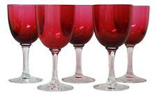 Antique Cranberry Bowl Clear Stem Set of 5 Wine Glasses