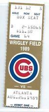 Ryne Sandberg, Andre Dawson 2B, Blauser HR ticket stub; Braves at Cubs 8/26/1989