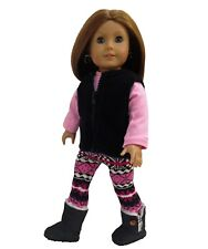 Doll Clothes Fleece Vest + Pink Shirt + Print Legging fits 18 inch American Girl