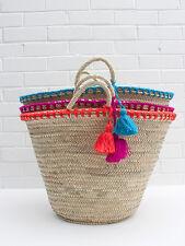 French Market Beach Basket, Tote Shopper Straw Bag Bright Orange Wool Tassels