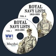 Royal Navy Lists 1913-1921 incl. WW1 (1914-1918) E-book 63 Parts on 2 DVD PDF UK