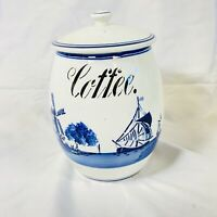 Vintage Antique Windmill Delft Ceramic Coffee Canister G.M.T & Bro 8809 Germany