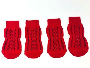 Dog Puppy Anti-slip Socks - For Tiny & Small Breeds - Christmas Winter Red