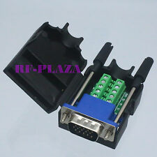 Connector DB15 VGA male D-Sub 3+6 line Plastic Cover screw Terminal PCB black