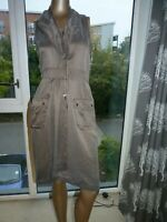 Ladies 100% silk Karen Millen drawstring sleeveless shiny shift dress 8