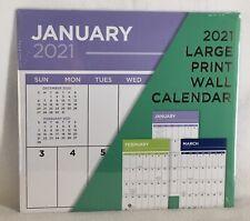 2021 Large Print Big Grid Blocks Easy to Read Numbers Wall Calendar Low Vision