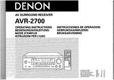 Denon AVR-2700 AV Receiver Owners Manual