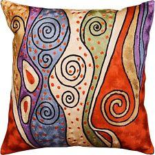 "Klimt Rust Night Sky Decorative Pillow Cover Handembroidered Art Silk 18x18"""