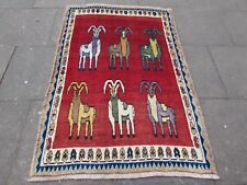 Old Traditional Hand Made Persian Gabbeh Oriental Wool Red Rug 170x115cm