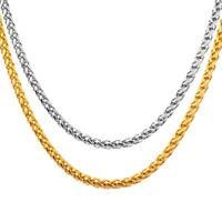 Chaîne de natte plaqué or 750 18 carats Argent Or Jaune Femmes Hommes K3085
