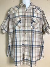 Plains Western Wear Men Size XL Rockabilly Shirt Plaid Short Sleeve Pearl Snap