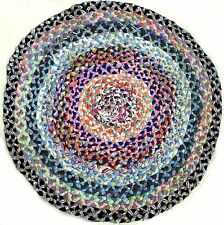 Clean Colorful Vintage Braided Rug 32 Inch 82cm Dia Round Handmade Multi Fabric