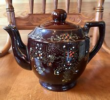 Vintage Brown Glazed Pottery Teapot Hand Painted Flowers Made in Japan Gold Trim