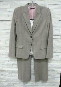 Elie Tahari Brown Orange White Plaid Stretch Wool Blend Blazer & Pants Suit 8