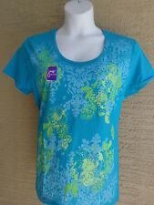 NWT Just My Size graphic scoop neck tee shirt Aqua glitzy Flowers 2X