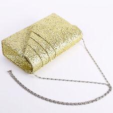 Ladies Bling Purse Chain Handbag Bridal Shoulder Evening Bag Clutch Gold