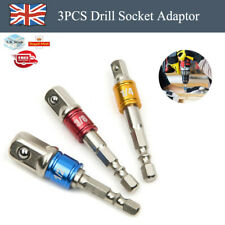 """3x Drill Socket Adaptor Hex Drive To 1/2"""" 1/4"""" 3/8"""" Impact Drill BIts Driver Kit"""