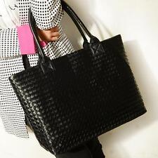 Fashion Weaved Style Lady Hobo PU Leather Handbag Shoulder Bag Black Women bag