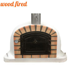Wood fired Pizza oven 100cm Deluxe extra in white with cast door
