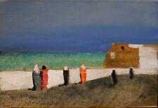 SALVATORE MAGAZZINI olio tavola Figure a Essaouira Marocco 30x20 firmato