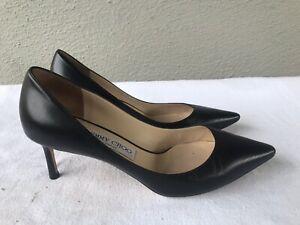 EUC Jimmy Choo Pointy Toe Black Leather 38 US 8 Heels Shoes Pumps B2
