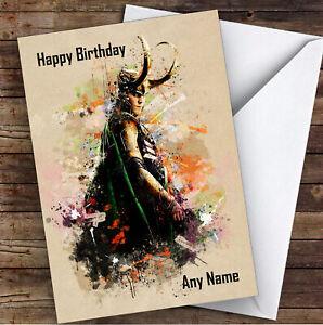 Loki Abstract Children's Kids Personalised Birthday Card