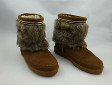 Minnetonka Medium Brown Suede Mukluk Faux Fur Ankle Boots ~ Women's size 8
