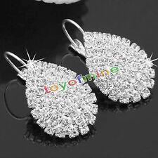 925 Cute Lady Sterling Silver Women Crystal Rhinestone Earrings Elegant Jewelry