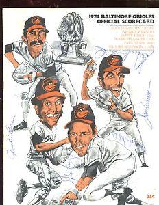1974 Texas Ranger at Baltimore Orioles Autographed Program 11 Signatures Holo...