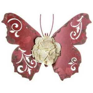 Red Distressed Butterfly Metal Wall Décor. Shabby-chic style Home Décor