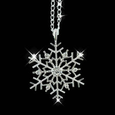 Christmas Crystal Snowflake Silver Charm Chain Necklace Pendant Jewelry Gift New