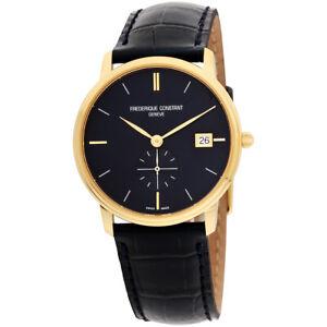 Frederique Constant Men's FC-245N4S5 Slimline 37mm Blue Dial Leather Watch