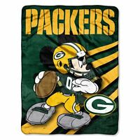 Green Bay Packers NFL 46x60 Mickey Mouse Micro Raschel Plush Throw