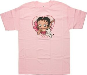 Betty Boop I LOVE BETTY - BETTY AND PUDGY T-Shirt Pink NWT Authentic & Official