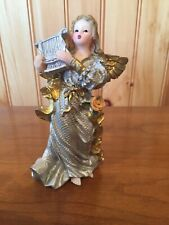 "Vintage K's Collection Angel Cherub Figurine 5"" Resin Golden Silver Plays Harp"
