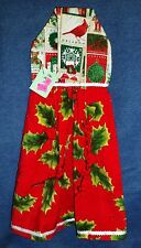 **NEW** Handmade Winter Holiday Holly & Stamps Hanging Kitchen Hand Towel #1716