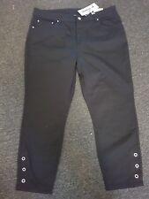 Rockmans Black Stretch Capri Jeans Sz 16 NEW
