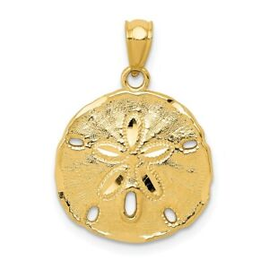 Real 14kt Yellow Gold Gold Polished Large Sand Dollar Pendant
