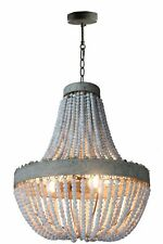 Rustic Wood Beads Chandelier 3 Lights Pendant Lamp Kitchen Ceiling Light Fixture