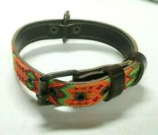 Colorful Hand Knitted Dog Collar medium size Mexican Handcraft Genuine Leather