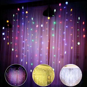 LED Herz Wand Lampe Vorhang Licht Lichterkette Lichtschläuche Party Weihnachten