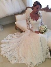 New Sexy White Ivory Long Sleeve Lace Bridal Gown Wedding Dress Custom Size