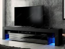 Modern TV Unit 200cm Cabinet Black Matt High Gloss LED RGB Lights Stand