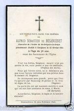 GENEALOGIE FAIRE PART DECES Alfred Sébastien de Besancenet .  1904 .