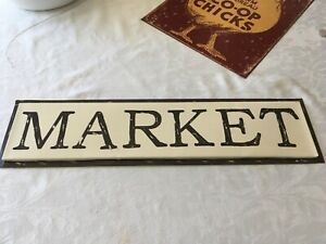 "MARKET SIGN 24"" W x 6"" T  Farmhouse METAL SIGN for Wall or Shelf brown & yellow"