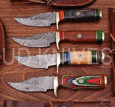 LOT OF 4   6 INCH CUSTOM DAMASCUS STEEL  HUNTING KNIFE  WOOD HANDLE B8-12106