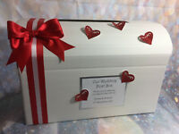 Personalised Glitter Heart Wedding / Engagement Gift Post Box **27 Colours**
