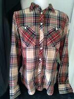 Ralph Lauren Denim & Supply  Women's Long Sleeve  Button Shirt Top Plaid Med